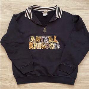 vintage disney animal kingdom half zip sweatshirt